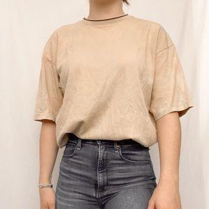 Claiborne Waffle Knit Front Tan T Shirt